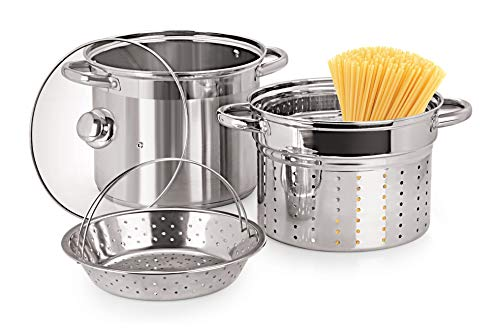 Pristine Stainless Steel Multi Purpose Steamer with Glass Lid, 5qt / 4.7Ltrs, 1PC (2 Inner PCS), Silver