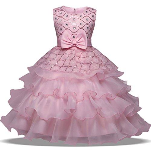 aby-Mädchen-Prinzessin Bridesmaid Festzug-Kleid-Geburtstags-Party-Hochzeits-Kleid (110/3Jahr, Rosa) (Erste Geburtstags-halloween-kostüme)