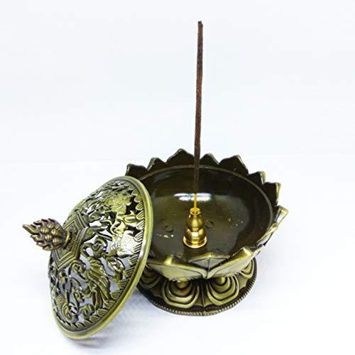 Single-coil-brenner (JOYOTER Multifunktions Räucherkegelhalter Metallic Lotus Räuchergefäß Base Gourd Coil Stick Räuchergefäß für tolle Geschenke)