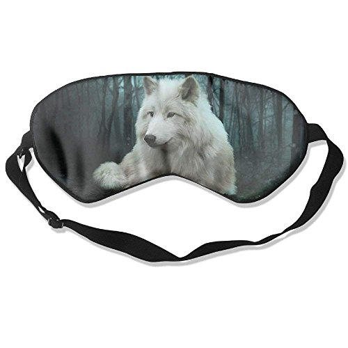 Comfortable Sleep Eyes Masks White Wolf Pattern Sleeping Mask For Travelling, Night Noon Nap, Mediation Or Yoga