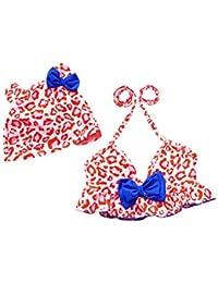 Moollyfox Bikini Niñas Traje de Baño de Dos Piezas Bañador Agradable Tankini con Sombrero Conjunto Infantil para 2 - 8 Años
