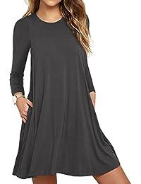 VIISHOW Frauen Langarm Casual Loose T-Shirt Kleid