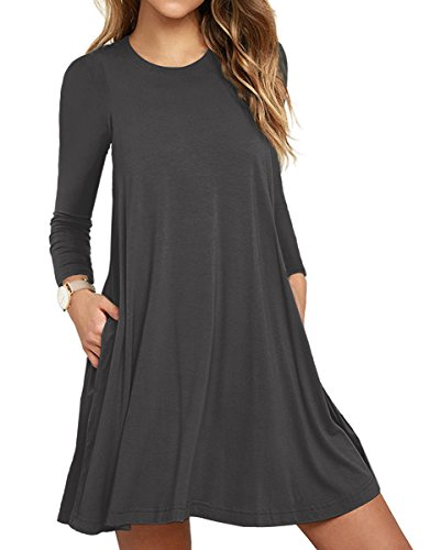 VIISHOW Frauen Langarm Casual Loose Fit T-Shirt Tunika Kleid Swing Kleid (Grau M) (A-line Swing-shirt)