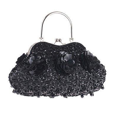 Frauen elegante Hochwertige Perlen und Pailletten am Abend Tasche Black