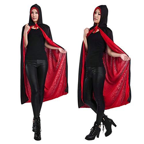 FLYA Halloween Death Cape Umhang Adult Velvet Hooded Cloak Vampire Masquerade Mit Kapuze Robe,Black-1.2m