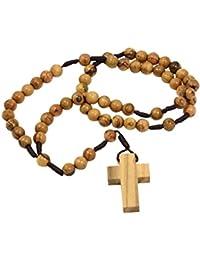 Rosario con cruz, con cuentas de madera de olivo auténtico de Belén