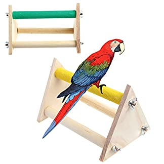 Dairyshop Pet Parrot Bird Wooden Perch Stand Rack Play Toys Training Activity Playstand 41C0nGdfDLL