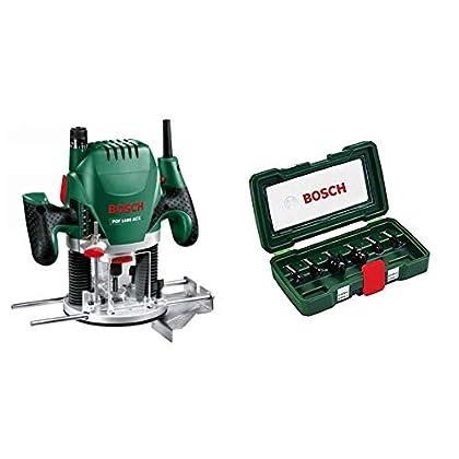 Bosch POF 1400 ACE - Fresadora de superficie (1.400 W, en maletín) + Bosch 2607019463 - Set con 6 fresas con inserción de 8 mm