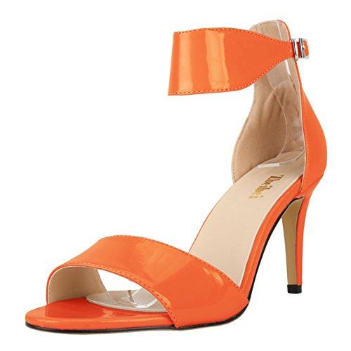 Damen Modische Sandalen Lackleder Schnalle Bequem Rundzehen Kitten-Heel Anti-Rutsche Leichtgewicht Pumps Orange