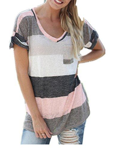 Seve nelks Mujer Verano Rayas Loose manga corta cuello en V Camiseta Blusa Camiseta de Rosa 48