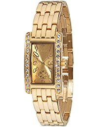 Yves Camani Damen-Armbanduhr Amance II mit vergoldetem Edelstahl-Gehäuse und Zifferblatt. Elegante Quarz Damen-Uhr mit steinbesetzer Lünette und vergoldetem vollmassivem Edelstahl-Armband.