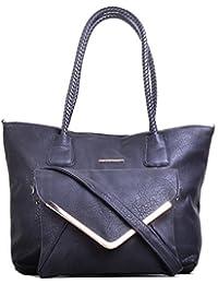 Hopping Street Black Faux Leather women Hand Bag