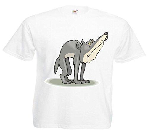 Motiv Fun T-Shirt Erschrockener Wolf Cartoon Spass Kult Film Serie Motiv Nr. 13049 Weiß
