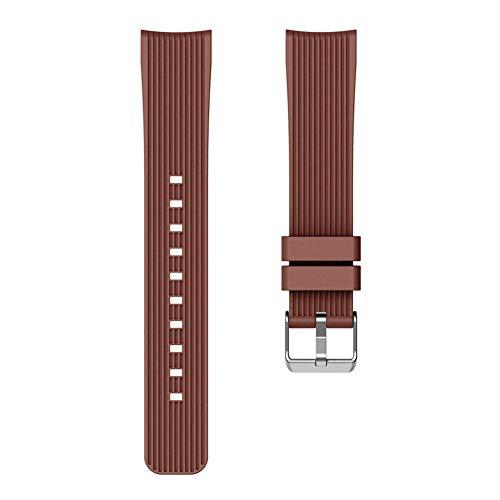 Globeagle Weiche Silikon Straight Stripe Armband Armband Wrist Strap Ersatz für Samsung Galaxy Watch Active 20mm (Kaffee) Samsung Stripe