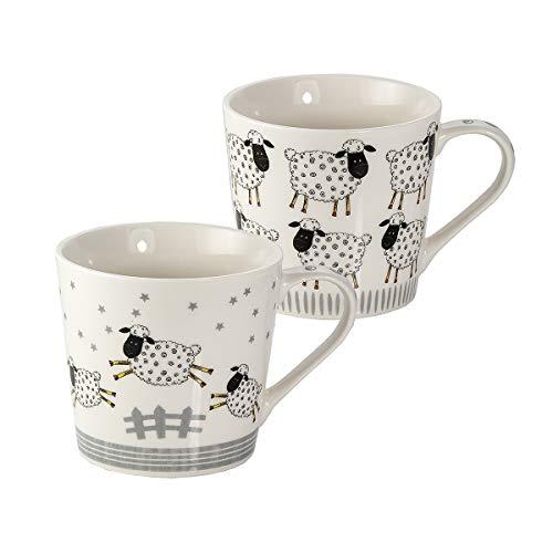Juego de 2 Tazas Desayuno Originales de Porcelana Fina, Tazas de Café Grandes con Diseño Ovejas, Regalo para Mujer y Hombres Amantes de los Animales