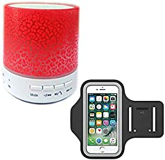 Exosis Rechargeable Bluetooth Outdoor Speaker with LED Light, Support TF Card & Mic With Running Armband for iPhone X/iPhone 8 Plus/8/7 Plus/6 Plus/6, Galaxy S8/S8 Plus/S7 Edge, Note 8 5, Google Pixel, 180° Rotatable with Key Holder Phone Armband