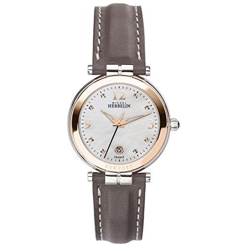 Michel Herbelin Damen Analog Quarz Uhr mit Leder Armband 14264/TR59GR