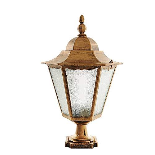 Amerikanische Retro Glaspfosten-Lampen-Patio-Pfad-Garten-Einfahrt Poller-Licht-Antiken-Messinggartensäule-Laterne IP55 bewertet wasserdicht (Color : Bronze-H-50cm)