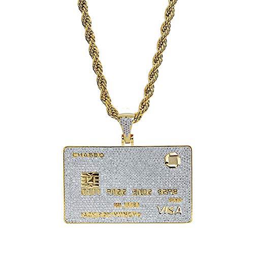 Qiulv Hip-Hop-Anhänger, Karte Männer Halskette Iced Out Visa Bank Card Kette Rechteck-Tag Anhänger Punk-Stil Vergoldet Micro Inlay AAA Stein Zirkonia Mode Schmuck Zubehör für Geschenk (Visa-geburtstag-geschenk-karte)