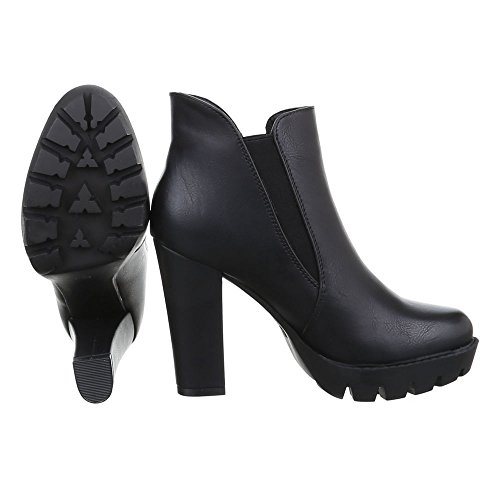 Ital-Design High Heel Stiefeletten Damen Schuhe Schlupfstiefel Pump High Heels Stiefeletten Schwarz