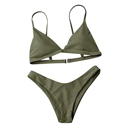 SGMORE Damen Push-Up-BH mit gepolstertem BH, Strand-Bikini, Badeanzug, Bademode - grün - Small