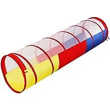 WolfWise Túnel Infantil 180cm (longitud) x 48cm (Diámetro) Para Los Niños,Canal Multicolor,Túnel Para Psicomotricidad,Túnel Transparente Por Arriba De Colores Por Abajo