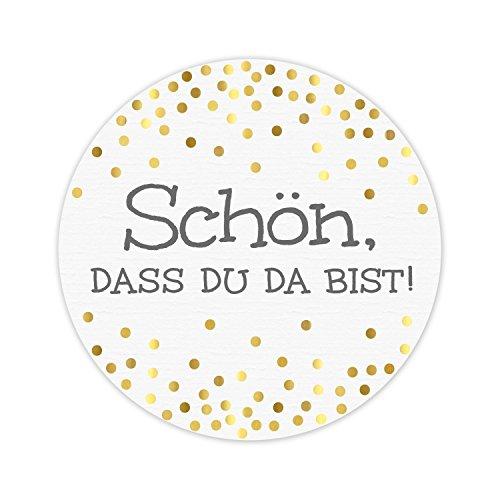 KuschelICH 100 Aufkleber Schön DASS Du da bist aus Premium-Strukturpapier mit golden glänzenden Punkten - weiß/grau/Gold - rund 5 cm Durchmesser (100 STK., Schön)