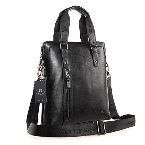 YAAGLE Echtes Leder Herren Aktentasche Handtasche Schultertasche Kuriertasche handgefertigt Reisetasche Business Taschen-brown black