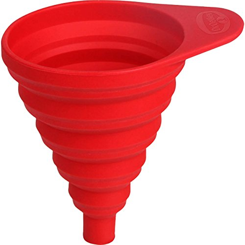 Dr. Oetker Silikon-Trichter Flexxibel, kleiner Trichter für präzises Befüllen, hochwertiger Küchenhelfer aus Platinsilikon, faltbarer Trichter zum platzsparenden Verstauen - hitzebeständig bis 230 Grad, (Farbe: rot), Menge: 1 Stück -