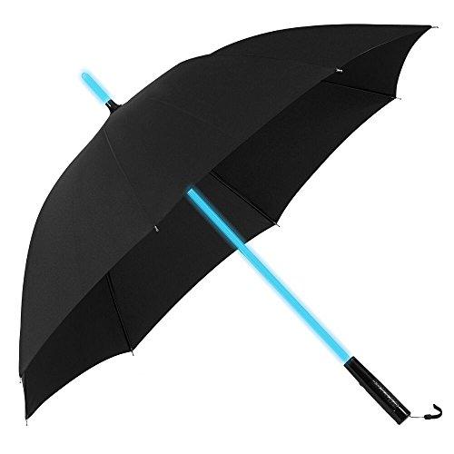 Plemo Regenschirm, Stockschirm mit integrierter LED Taschenlampe & 7-farbigem LED-Stiel, inkl Schutzhülle mit Tragegurt