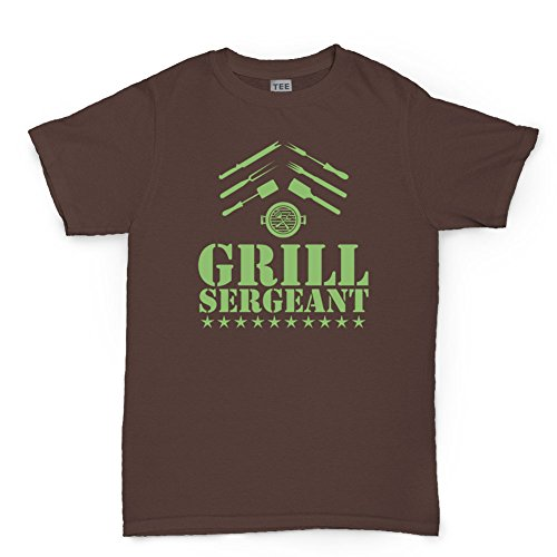 Drill Grill Sergeant BBQ Funny Mens T-Shirt Brown