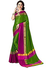 Skycrue Women's Cotton Silk Sari With Blouse Piece