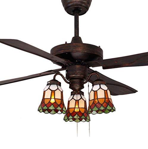 42pulgadas ventilador de techo luz Tiffany estilo vitral Ombre Ventilador de techo...