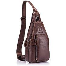 BULLCAPTAIN Sling Bag Borse a Spalla Pacco Petto Vera Pelle Uomo 6b68e3a6362
