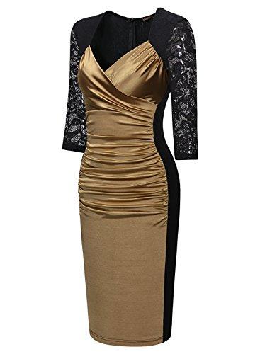 Miusol Damen Elegant Sommer Kleid Spitzen 3/4 Arm Wickelkleid Cocktailkleid Gold Gr.XXL -