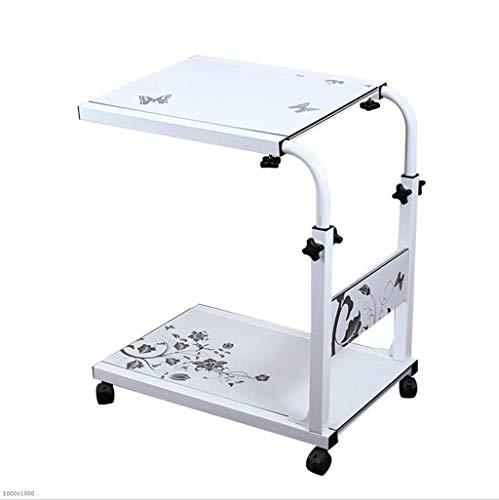 TX JIAOJIAO Computer-Tisch Mobile Teleskop Höhe Verstellbare Notebook-Schreibtisch-Schreibtisch Nachttisch Mobile Scheibe Lifting Nacht Computer-Schreibtisch,White -