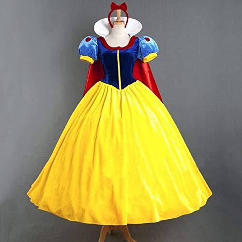 (rehuiwi Snow White Princess Dress Adult Halloween Costume Headwear and Cloak Includede FW)