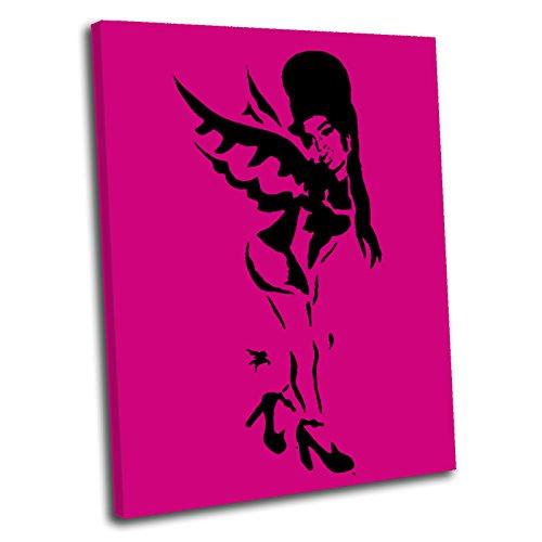 Canvas Culture–Banksy Amy Winehouse Gerahmter Kunstdruck auf Leinwand Bild Pink 120x 80cm