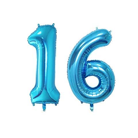 NUOLUX Folienballon Zahlen Luftballon Buchstabe Ballons Romantische Party Geburtstag Jahrestag Dekoration 40 Zoll (Blau)