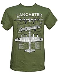 Avro Lancaster Heavy Bomber - British Aircraft / Military T Shirt with blueprint design