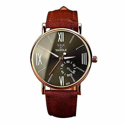 Switchali Cuir de mode de luxe Mens Wrist Watch Noctilucent Montre(marron Band Noir Cadran)