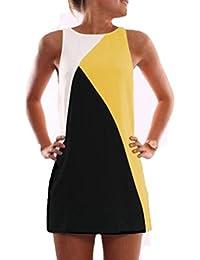 WanYang Mujeres Casual De Verano Sin Mangas De La Fiesta De Cóctel Clubwear Corto Mini Vestido(Un poco hacia atrás transparentes, vestidos de playa)