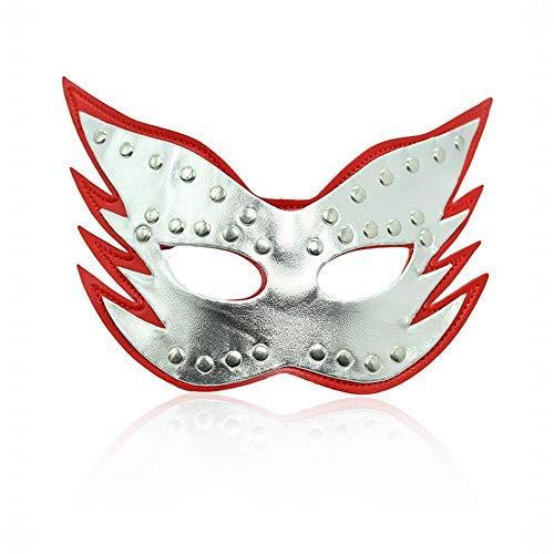 CLS813 Sex Toys Kit SM Kit Erwachsene Alternative Spielzeug Spaß Augenmaske Leistung Maske Katze Gesicht Augenmaske Erwachsene Produkte, Silber Rot