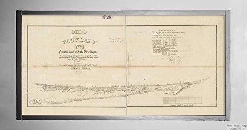 New York Map Company  1835 Karte Michigan, Lake Ohio Randnummer Nr. Karte mit Südbiegung des Sees Michigan: Landkarte, mit historischem Vintage-Nachdruck, fertig zum Einrahmen (Michigan See Karten)