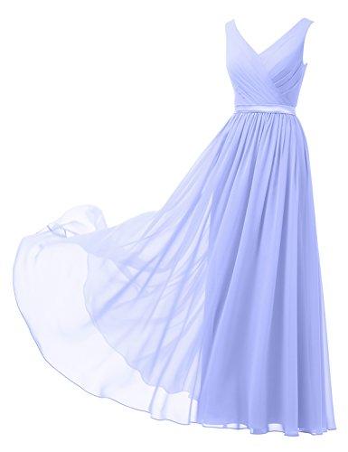 Alicepub A-Linie Chiffon Brautjungfernkleider Abendkleider Lang Ärmellos Ballkleider, Lavendel, 52