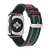 Daze - Correa de Repuesto para Apple Watch Series 1 Series 2 Series 3 (Nailon, con Cierre de Metal de Piel auténtica)