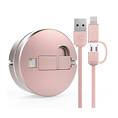 2 in 1 Einziehbares USB-Kabel für Apple IOS / Android, Cuitan 1m Retractable Datenkabel Ladekabel Charging Cable Lightning Kabel Aufladekabel für iPhone 7, 7plus, 6s Plus, 6s, 6, 6 Plus, 5s, iPad mini, iPad air, Samsung S7, S7 Edge, S6, S6 Edge, HTC, LG - Rose Gold(Stil 1) (Usb Retractable Cable Lightning)