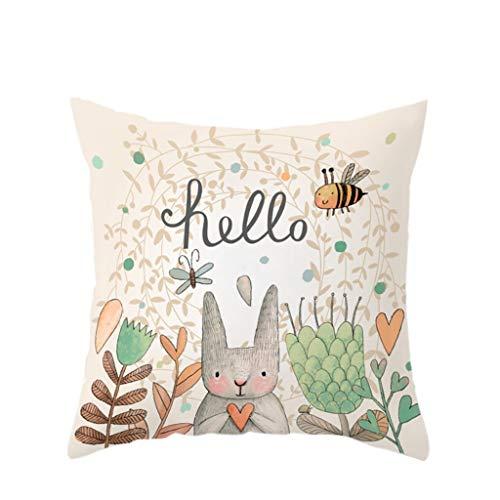 Dasongff Ostern Kissenbezug 45x45 cm, Kopfkissen Kissenbezüge, Kissen Kissenhülle Ostern Tier-Motiv Kaninchen 45x45 cm (Ohne Füller)