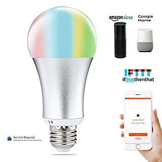 Wifi Smart Birne COOSA smart LED Lampe E27 Dimmbar RGB wifi Glühbirne kein Hub erforderlich funktioniert mit Amazon Alexa, Google Assistant und IFTTT Fernbedienung von IOS & Android (1Pack)