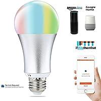 COOSA Smart LED Ampoule E27, Ampoule Wifi, Dimmable RGB + Ampoule Blanche Chaude, pas de Hub Requis, Fonctionne avec Amazon Alexa, Google Assistant et IFTTT (Argent)
